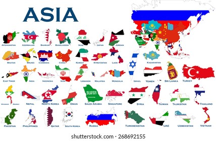 high detailed editable maps and flags on white background of all asian countries