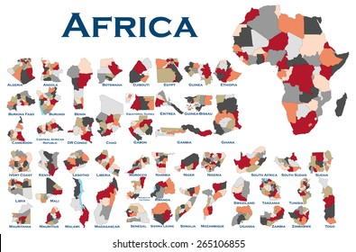 High detailed editable, political map of all African countries.