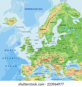 High detailed Europe physical map with labeling.