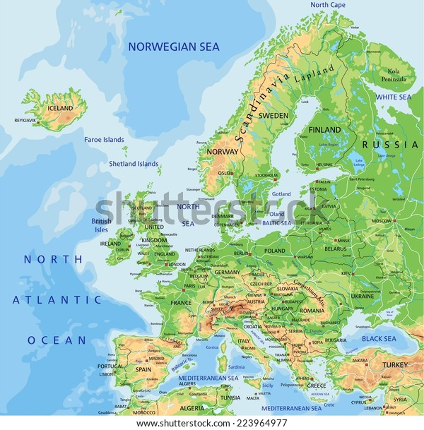 High Detailed Europe Physical Map Labeling Stock Vector ...