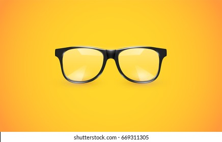 High detailed eyeglasses on yellow background, vector illustration