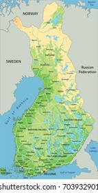 High detailed Finland physical map with labeling.