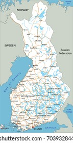 High detailed Finland road map with labeling.