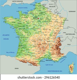 Map Of France With Mountains.France Physical Map Images Stock Photos Vectors Shutterstock