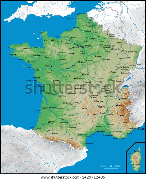 High Detailed France Physical Map Cities Stock Vector ...