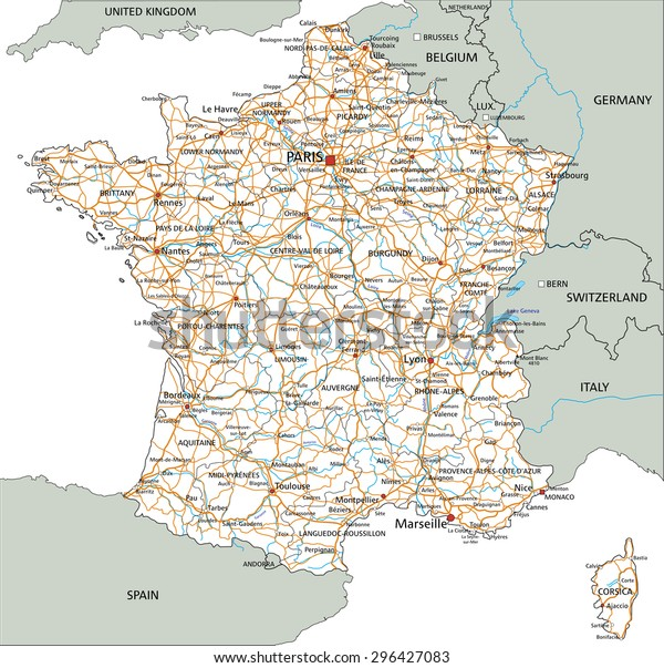 Road Map Of France And Italy.High Detailed France Road Map Labeling Stock Vector Royalty Free