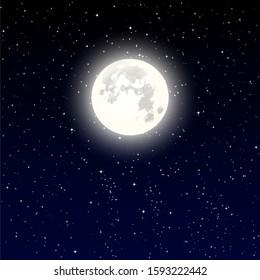 High Detailed full moon on Night starry sky. Vector illustration eps 10.