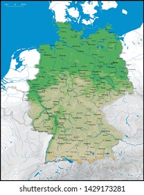 High detailed Germany physical map with cities, rivers, lakes and topography - Vector illustration