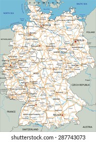 High detailed Germany road map with labeling. White.