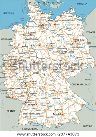Road Map Of Germany And Austria.High Detailed Germany Road Map Labeling Stock Vector Royalty Free
