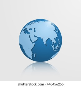 High detailed globe with Eurasia, Oceania and Africa. Vector illustration.