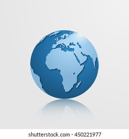 High detailed globe with Europe, Africa and Eurasia. Vector illustration.