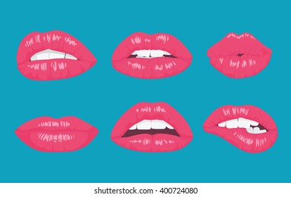 High detailed glossy lips and mouth vector illustration. Open, close up on the bright background.