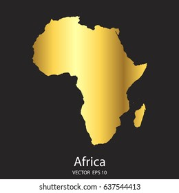 High Detailed. Gold Africa Map Vector Eps 10.