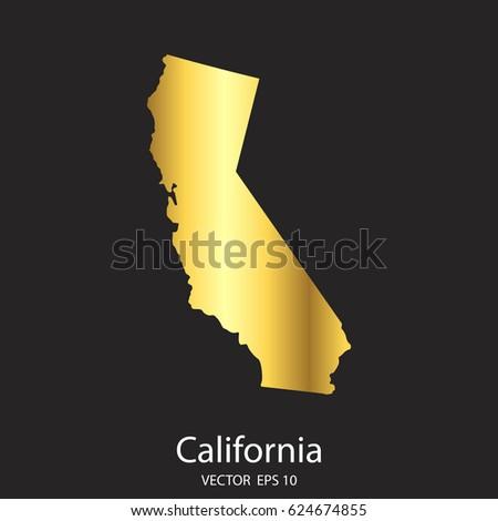California Map Shutterstockcom.High Detailed Gold California Map Vector Stock Vector Royalty Free
