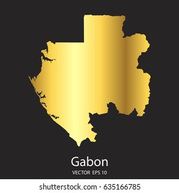 High Detailed. Gold Gabon Map Vector Eps 10.