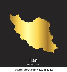 High Detailed Gold Iran Map Vector Eps 10