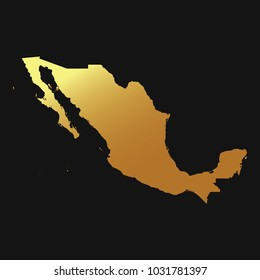 High detailed gold vector map – Departments of Mexico map