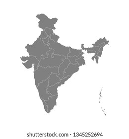High detailed gray vector map of India.