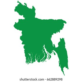 High detailed Green vector map – Bangladesh map