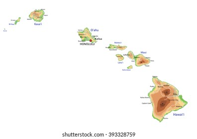 High detailed Hawaii physical map with labeling.