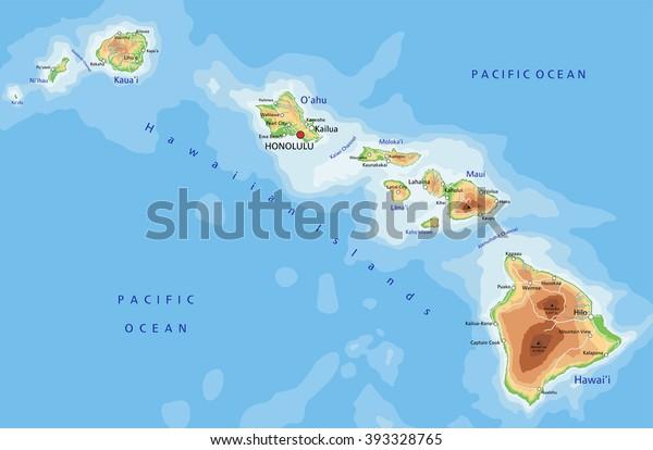 Korkea Yksityiskohtainen Havaiji Fyysinen Kartta Merkinnat