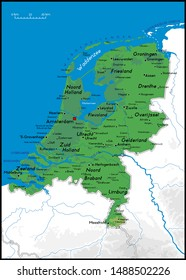 High detailed Holland physical map with cities, rivers, lakes and topography - Vector illustration