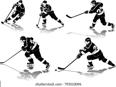 High detailed ice hockey figures