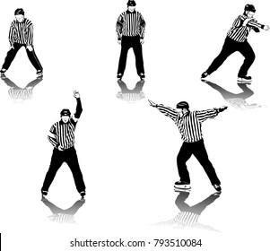High detailed ice hockey referee figures