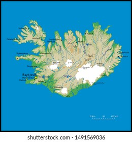 High detailed Iceland physical map with cities, rivers, lakes and topography - Vector illustration