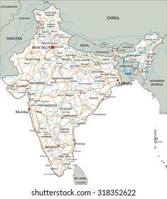 High detailed India road map with labeling.