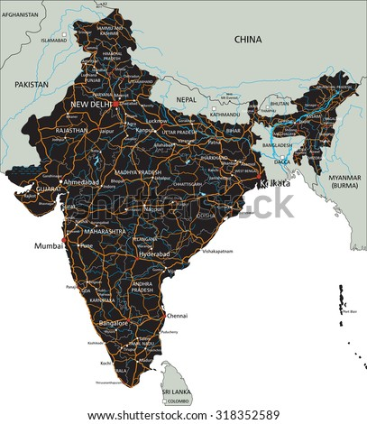 High Detailed India Road Map Labeling Stock Vector Royalty Free