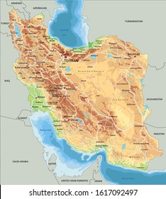 High detailed Iran physical map with labeling.