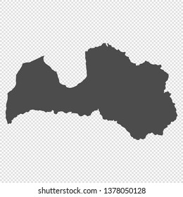 High detailed isolated map - Latvia
