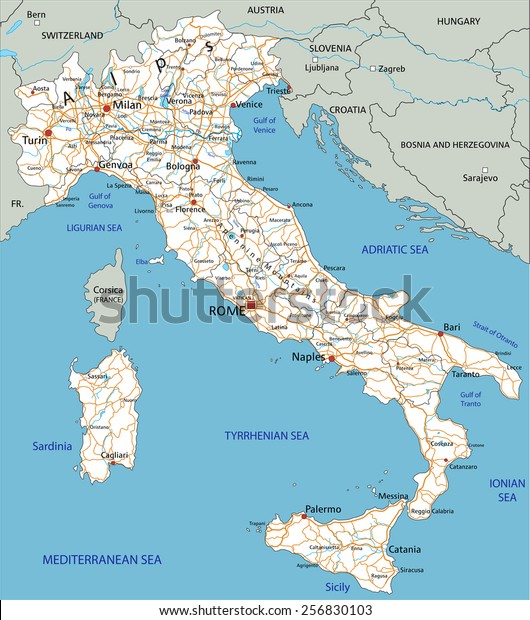 Road Map Of France And Italy.High Detailed Italy Road Map Labeling Stock Vector Royalty Free