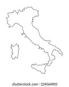 High detailed Italy vector map contour silhouette isolated on white background. Outlined. EU country. State in Europe.