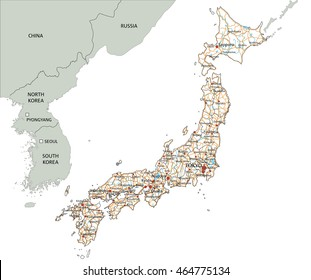 High detailed Japan road map with labeling.