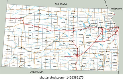Kansas Road Map Images, Stock Photos & Vectors | Shutterstock on