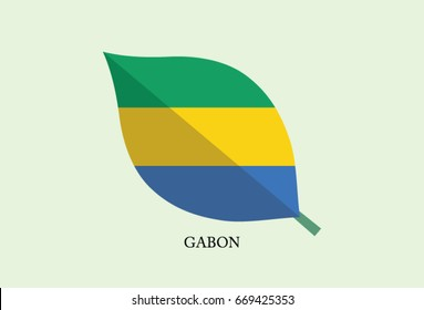 High detailed Leaves Flag vector – Gabon flag