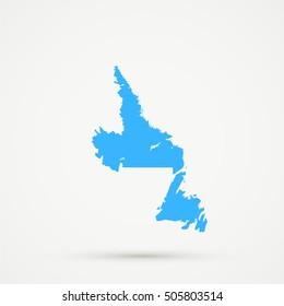 High detailed Light blue vector map Newfoundland and Labrador