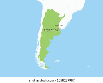 High Detailed Map of Argentina and Capital is a fully layered. Vector illustration eps 10.
