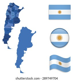 High Detailed Map of Argentina With Flag Icons
