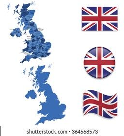 High Detailed Map of Great Britain With Flag Icons