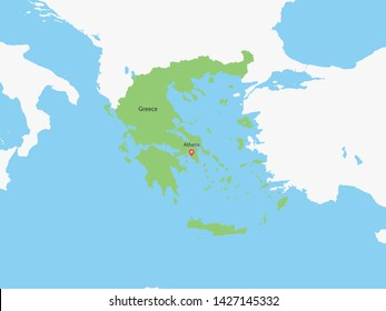 High Detailed Map of Greece and Capital. Vector illustration eps10.