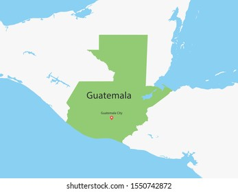 High Detailed Map of Guatemala and Capital. Vector illustration eps10.