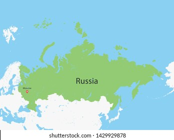 High Detailed Map of Russia and Capital. Vector illustration eps10.