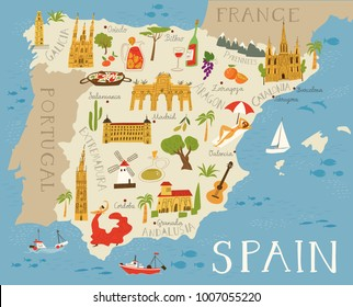 High detailed map of Spain. Food, architecture and symbols of Spanish culture.