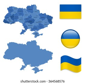 High Detailed Map of Ukraine With Flag Icons