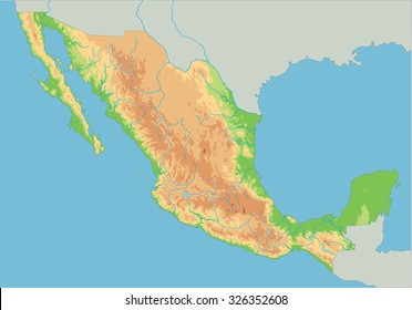 High detailed Mexico physical map.