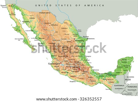 High Detailed Mexico Physical Map Labeling Stock Vector (Royalty ...